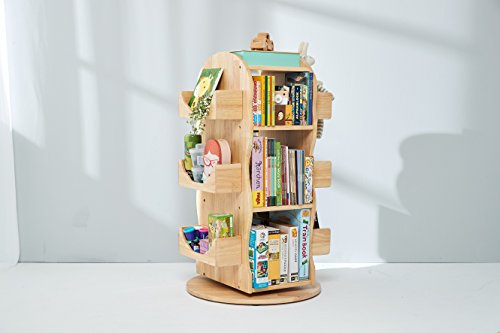 MesaSilla Kinder Bücherregal, Regal, drehbar, 100% Massivholz, Natur - Massivholz Bücherregal