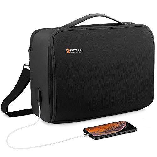 REYLEO Borsa per PC Portatile 15.6 Pollici e Tablet con Porta USB Uomo Laptop Borsa Messenger Spalla Borsa Tracolla Multifunzione da Viaggio
