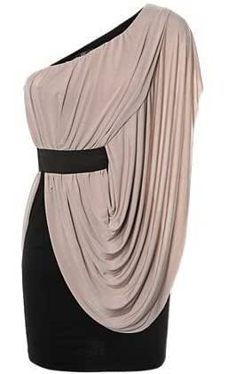 One Shoulder Side Drape Dress in Sand/Mocha Colour.M/L