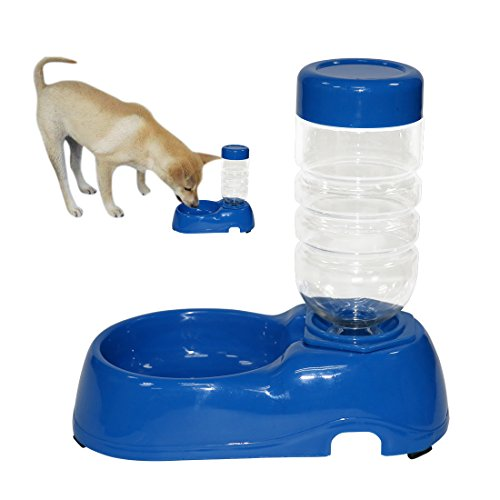 Hund-wasser-brunnen-spender (Idepet Haustier Hund Katze Wasserspender , Gravity automatische Wasser Schüssel Set Brunnen Waterer Spender mit Flasche für kleine Hundewelpen Katze Kätzchen (Blau))