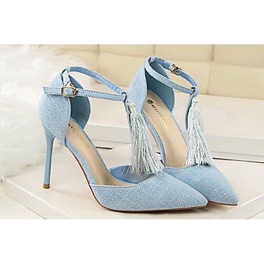 Moda Donna Sandali Sexy donna tacchi tacchi Estate Felpa casual Stiletto Heel fiocco nero / blu / rosso / grigio / Kaki Altri Light Blue