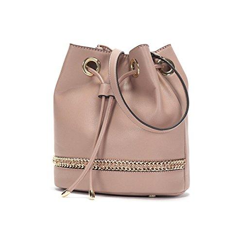 GSHGA Mode Simple Seau Sac Métal Zipper Messenger Bag Femme Sac À Main Durable Totes Cross-Body Sacs Top-Poignée Sacs,Pink