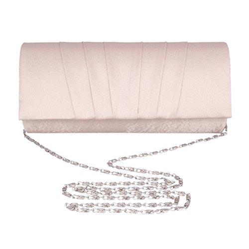 Adoptfade Abendtasche Damen Lang Falte Clutch Tasche, Champagne Silber