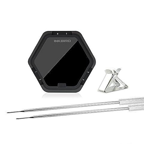 Inkbird Barbeque Fleisch Thermometer Digitale Bluetooth BBQ Raucher Funk-Grillthermometer Timer mit Temperaturfühlern für Ofen Kochen Outdoor Grill (Schwarz thermometer+2
