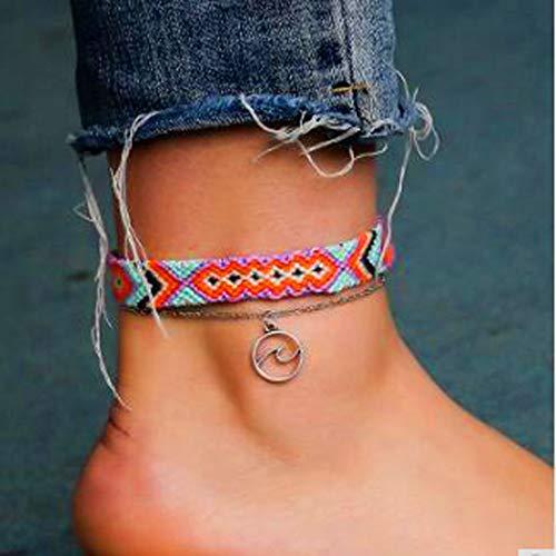Jovono Mehrschichtige Retro Nylon Seil Fußkettchen Boho Welle Fußkettchen Armbänder Mode Strand Fuß Schmuck für Frauen und Mädchen (Lila)