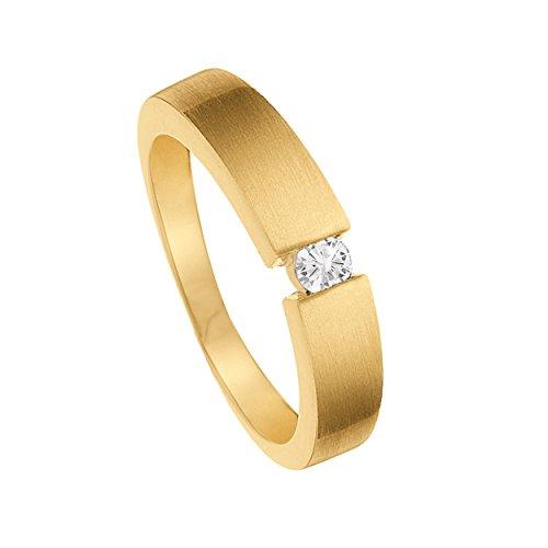 Diamond Line Damen - Ring 375er Gold 1 Diamant ca. 0,08 ct, gelbgold