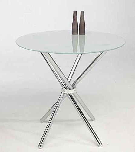 DESKandSIT Tavolo 80cm per Sala da Pranzo O Cucina MIK in Vetro Bianco O Nero