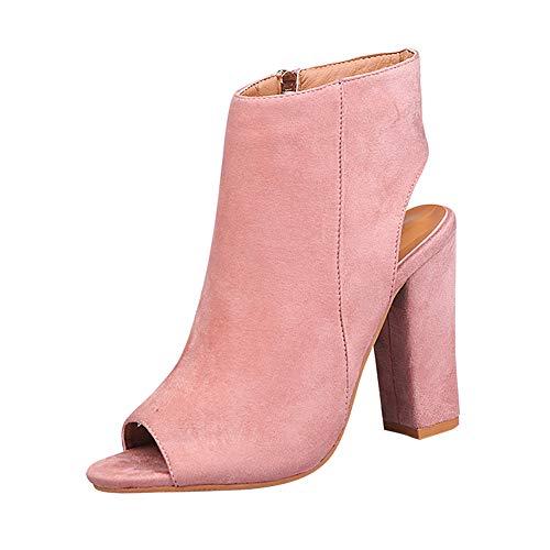 Gtagain Zapatos para Mujer Botas - Tacón Alto Punta Abierta Botines Cremallera Lateral Peep Toe Espalda...