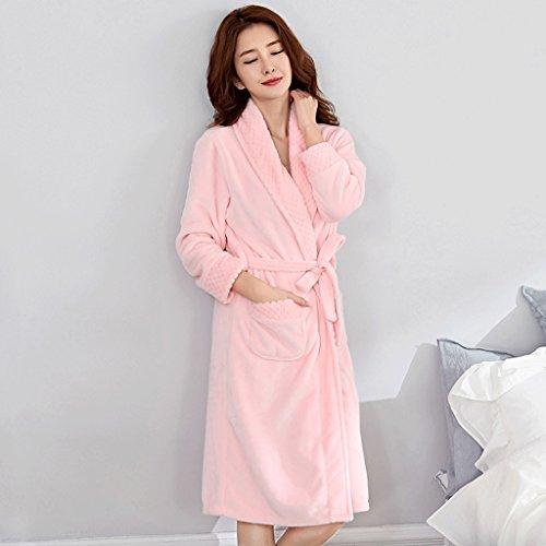 Bathrobe ZLR Winter Loose Thickened Pajamas Lady Plus Long Paragraph Strap Tie Sleep Robe Home Clothes