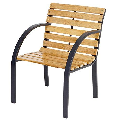 Chaise de jardin Granada II, chaise en bois dur d'eucalyptus avec accoudoirs, 81x56x59cm