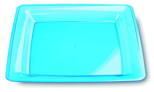 MOZAIK Lot de 6 Assiettes Carrées En Plastique Bleu Turquoise - 23 cm