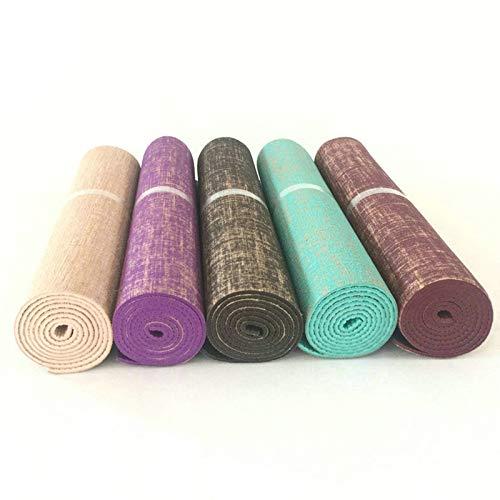 Blisfille Weiche Yoga Matte Yogamatte 5mm 183X61cm Leinen Yoga Matte Jute PVC Yoga Matte Yoga Fitness Matte Leinen Yoga Matte 5 mm Eisblau 183X61X0.5cm (Jute-matte Yoga)