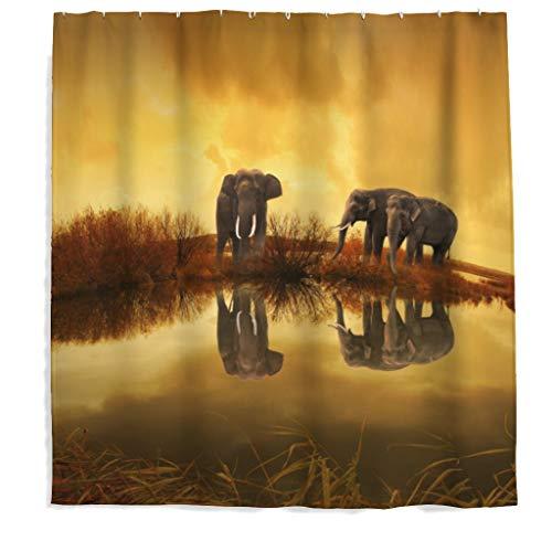 Afrika Elefant Duschvorhang mit Anti-Schimmel-Effekt, Waschbar Wasserdicht PStoff Duschvorhang Shower Curtain für Badezimmer Braun 180x180cm