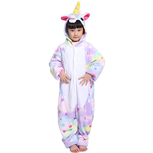 Einhorn Kostüm Pyjama Kinder Tier Karton Kostüm Tier Schlafanzug Tieroutfit Jumpsuits Overall Nachtwäsche mit Kapuze Flanell Fastnachts kostüm Kleidung Halloween Karneval für Mädchen Jungen