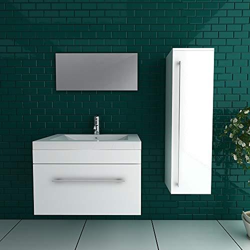 Preisvergleich Produktbild Alpenberger Badmöbel Set Waschbecken aus hochwertigem Mineralguss inkl. Waschtischunterschrank mit SoftClose-Funktion und Wandspiegel Weiß für Ihr Perfektes und modernes Bad