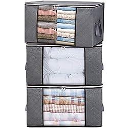 H.C Housecraft Lot de 3 sacs de rangement épais pliables avec grande fenêtre transparente et poignées de transport pour vêtements, couverture, placard sous lit, dortoir, chambre à coucher