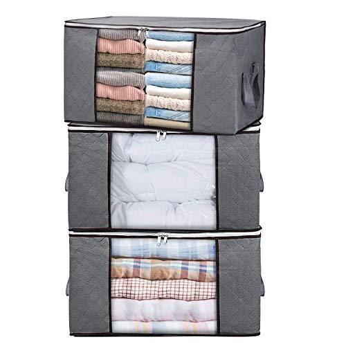 H.c. housecraft 3 pezzi borsa organizer pieghevole per vestiti scatole per armadio con grande finestra trasparente e manici per il trasporto per vestiti coperte armadi camere da letto