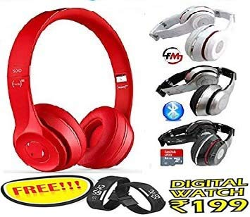 ZONGG HD Bluetooth Headphone Wireless Over Ear Headset Earphone with Built-in FM Radio Mic Micro SD Card Slot Volume Control Compatible with all mobile phones , iPad , Laptops , Smart TVs and More.(FREE Digital Wrist band worth Rs 199/- from ZONGG) Pattern #134081