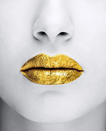 Queence   Acrylglasbild mit Blattgold   Wandbild Glasbild Acrylbild Rahmenlos   Goldene Lippen   Druck auf Acrylglas   Goldveredelung   Größe: 40x60 cm