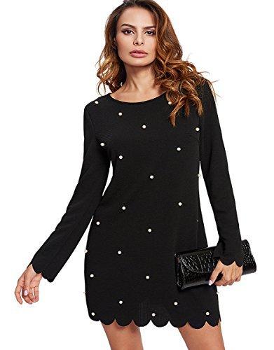 ROMWE Damen Langarm Kleid mit Perlen Falten Rock Elegant Kleider Partykleid Schwarz S
