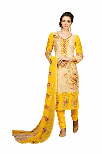 DaFacioun Indian Women Designer Party Wear Salwar Kameez 153266-40 (Chiffon Kameez Gelb)