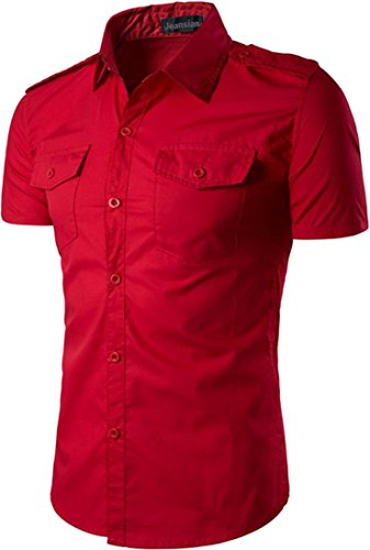 Jeansian Hommes Mode Casual Chemises Manche Courte Men's Fashion Slim Short Sleeves Dress Shirts Tops 84P4 red