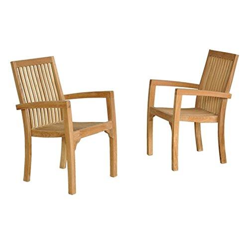 Lot de 2 fauteuils de Jardin empilables en Bois de Teck