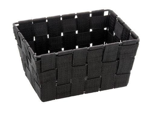 Wenko Adria - Cesta para el baño y el hogar de forma alargada, material plástico tejido, de tamaño mini, 19 x 9 x 14 cm, color negro