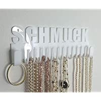 Galeara design Necklace Hanger Organiser Storage Black Wall Mounted Glossy with Word ... (White - Schmuck)