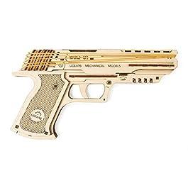 Ugears 70047 Wolf-01 – Pistola in Gomma, Modello in Legno, Set per Costruzioni, sicura ed Ecologica, in Legno, Taglia Unica