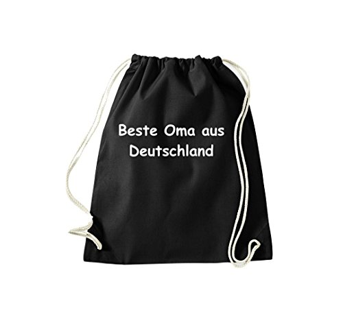 Turnbeutel Beste Oma aus Deutschland Gymsack Kultsack Schwarz