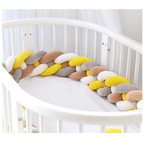 Bettumrandung,Baby Nestchen Kinderbett Stoßstange Weben Bettumrandung Kantenschutz Kopfschutz für Babybett Bettausstattung 220cm (Grau + weiß + gelb + braun)