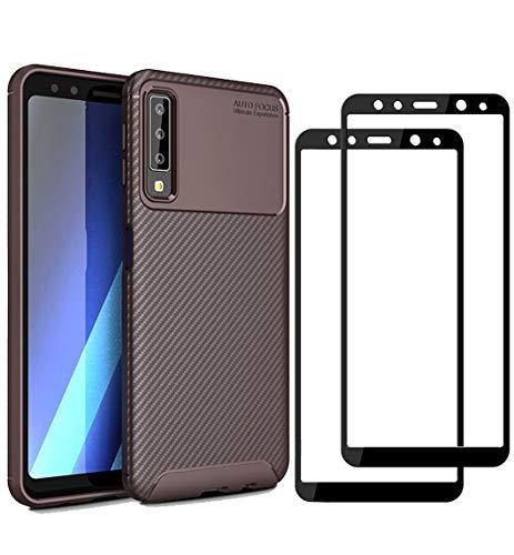 XIFAN® Samsung Galaxy A7 2018 Hülle und Displayschutzfolie, [1 Pack] Slim Soft Shockproof Case + [2 Pack] 9H gehärtetes Glas [HD Ultra] für Samsung Galaxy A7 2018 - Braun 1 Pack Slim Case