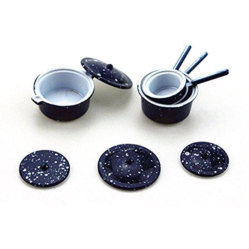 gzzebo Mini-Küchen-Topf-Set, Maßstab 1:12, Legierung, für Puppenhaus, Gartenzubehör Multi Mini-topf-set