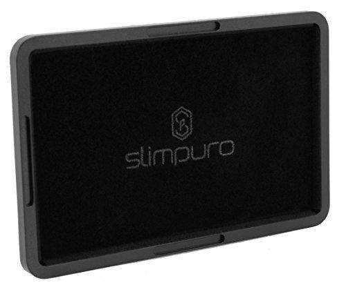 Slim Wallet Case (SLIMPURO ® Coin Case/CoinCard - Universales Münzfach, Kleingeldfach aus Aluminium für Geldbörsen, Slim Wallets, Kreditkartenetuis, Kartenetuis, Geldbeutel - Mit Filzschutz)