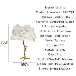 Plume d'autruche nordique de luxe a mené des lampadaires cuivre moderne stand lumière salon hôtel lampe lampadaire debout lampe, lampadaire170CM, brun