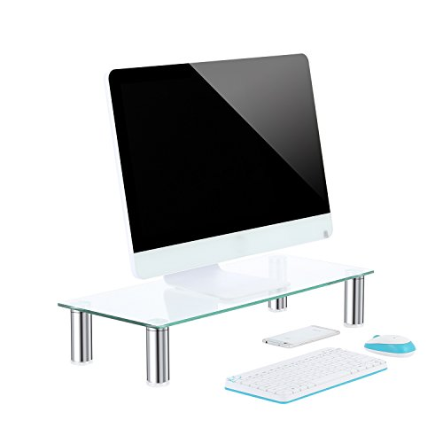TAVR Glass Monitor Stands Screen Riser for Computers, Laptops & TVs 60 x 26x12(H)cm CM2001
