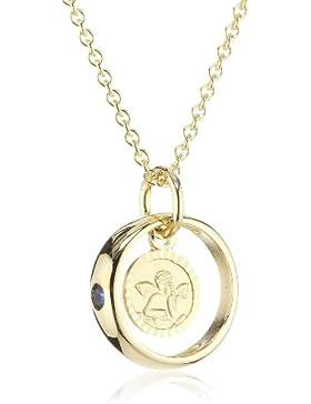 Xaana Kinder und Jugendliche Halskette Taufring mit Schutzengel 8 Karat (333) Gelbgold Saphir blau + 925 Silber...
