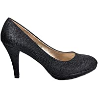 4f6a621e398180 Maggie Boutique Black Glitter Brocade Shiny Platform Wedding High Heels  Bridal Party Shoes