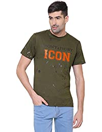 [Sponsored]EBONY & IVORY Men's Half Sleeves AOP Metallic Printed T-Shirt - (ICON) In Military Green