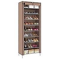 9 Tiers Shoe Rack, Shoe Cabinet Organizer Brown