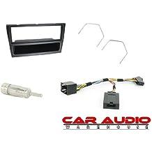 T1-Audio T1-CTKVX12Opel Agila 00>, Astra G, Corsa 00–05, Meriva, Vivaro, Omega B completo para radio de coche para montaje de bacas, CT24VX01, CTSVX001, CT27AA01, CT22VX01, negro marco Panel, adaptador de mando del volante plomo, antena y coche estéreo llaves de extracción.