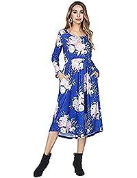 0d2cd227197 FeelinGirl Damen Lange Kleid Kleider Sommerkleider Maxikleider Blumenkleid  Blumedrucken Strandkleid Rock mit Böhmen