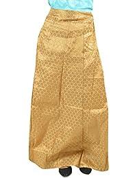Maansi Collection Women's Art Silk Ethnic Bottom (Golden, X-Large)