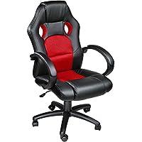 TecTake Chaise fauteuil siège de bureau hauteur réglable sportive - diverses couleurs au choix - (Rouge)
