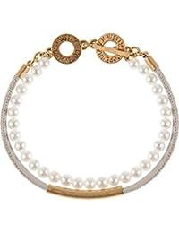 Sence Copenhagen Damen-Armband Messing/Leder Muschelkern-Perle One Size, tricolor