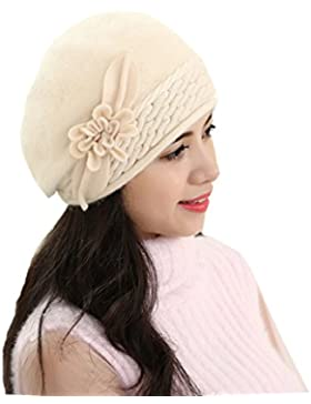 Mai Dou Señora Lana Tricotar Gran Flor Otoño Invierno Fit Sólido Casual Gruesa Caliente Hat