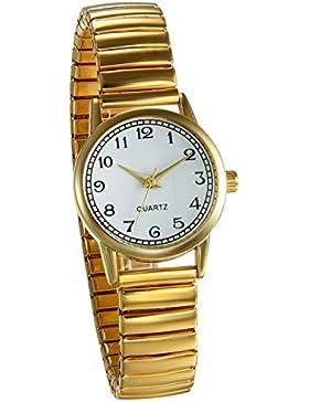 JewelryWe Damen Armbanduhr, Elegant Analog Quarz Uhr mit Digital Zifferblatt und Elastisch Legierung Armband Gold