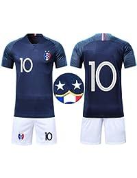 1bcc37cccb71 Ensembles de Sport Maillot de Football Enfant Garçon Coupe du Monde France  2 étoiles Manche Courte