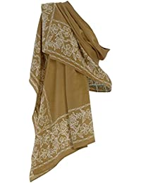 Pure Silk Scarf in Gold with White Batik Flower Border